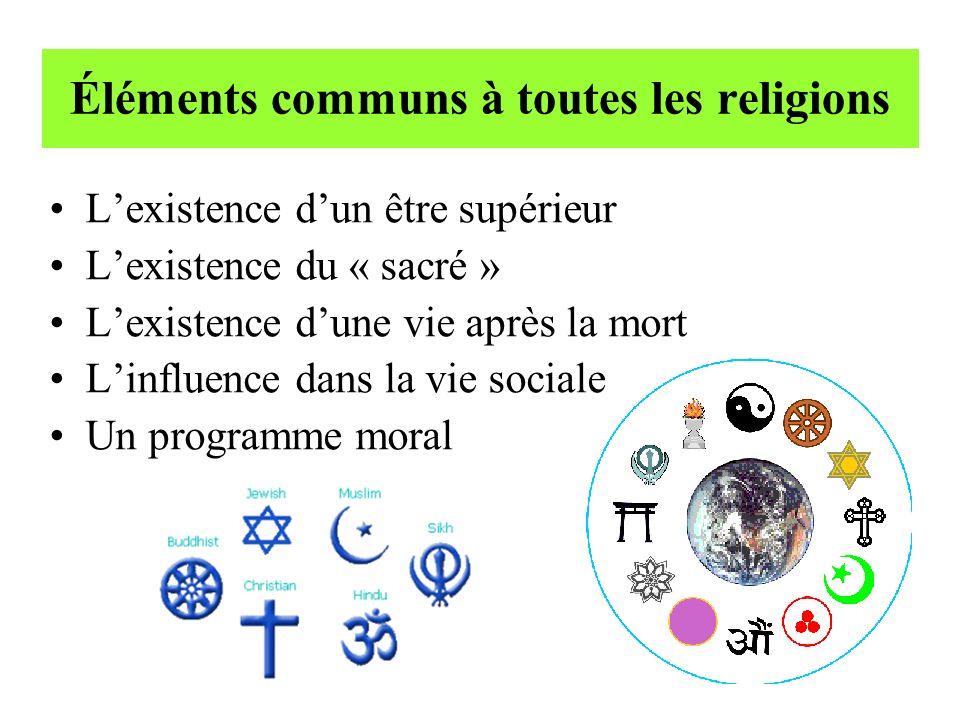 Éléments communs à toutes les religions Lexistence dun être supérieur Lexistence du « sacré » Lexistence dune vie après la mort Linfluence dans la vie