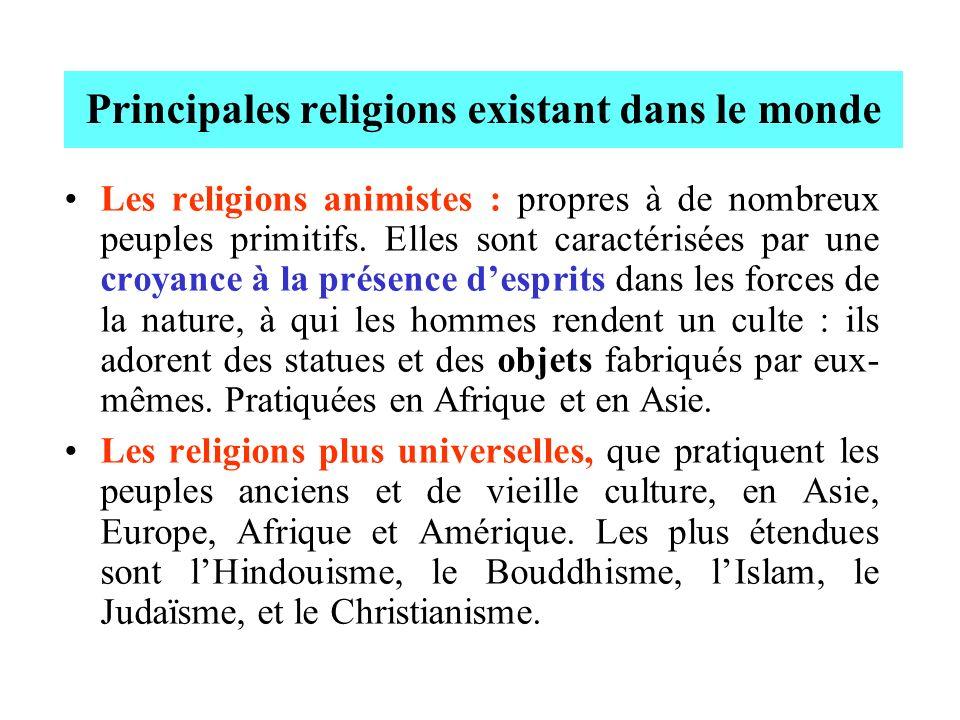 Principales religions existant dans le monde Les religions animistes : propres à de nombreux peuples primitifs. Elles sont caractérisées par une croya