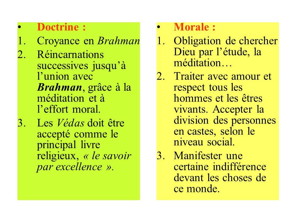 Doctrine : 1.Croyance en Brahman 2.Réincarnations successives jusquà lunion avec Brahman, grâce à la méditation et à leffort moral. 3.Les Védas doit ê