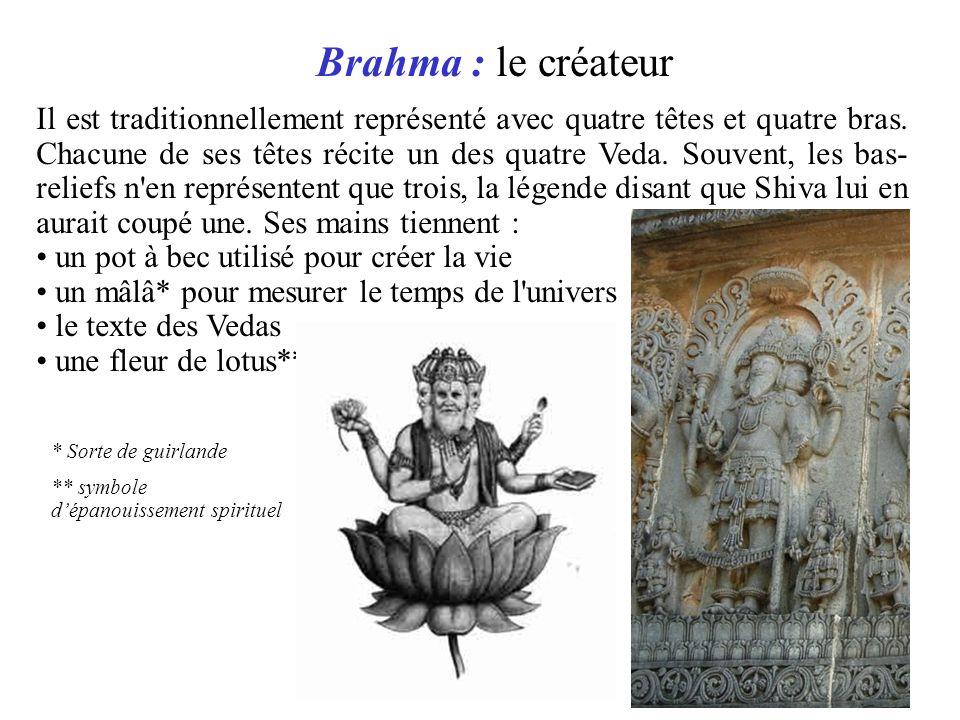 Il est traditionnellement représenté avec quatre têtes et quatre bras. Chacune de ses têtes récite un des quatre Veda. Souvent, les bas- reliefs n'en
