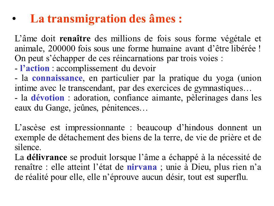 La transmigration des âmes : Lâme doit renaître des millions de fois sous forme végétale et animale, 200000 fois sous une forme humaine avant dêtre li