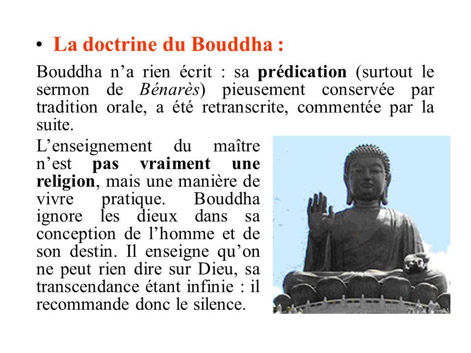 La doctrine du Bouddha : Lenseignement du maître nest pas vraiment une religion, mais une manière de vivre pratique. Bouddha ignore les dieux dans sa