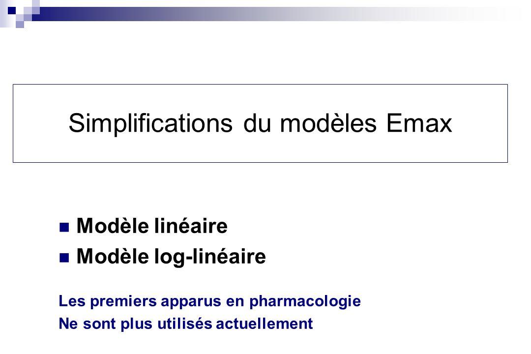 Simplifications du modèles Emax Modèle linéaire Modèle log-linéaire Les premiers apparus en pharmacologie Ne sont plus utilisés actuellement