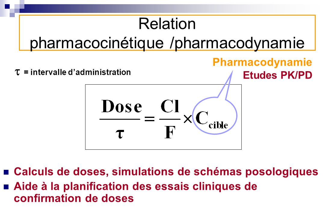 Relation pharmacocinétique /pharmacodynamie = intervalle dadministration Pharmacodynamie Etudes PK/PD Calculs de doses, simulations de schémas posolog