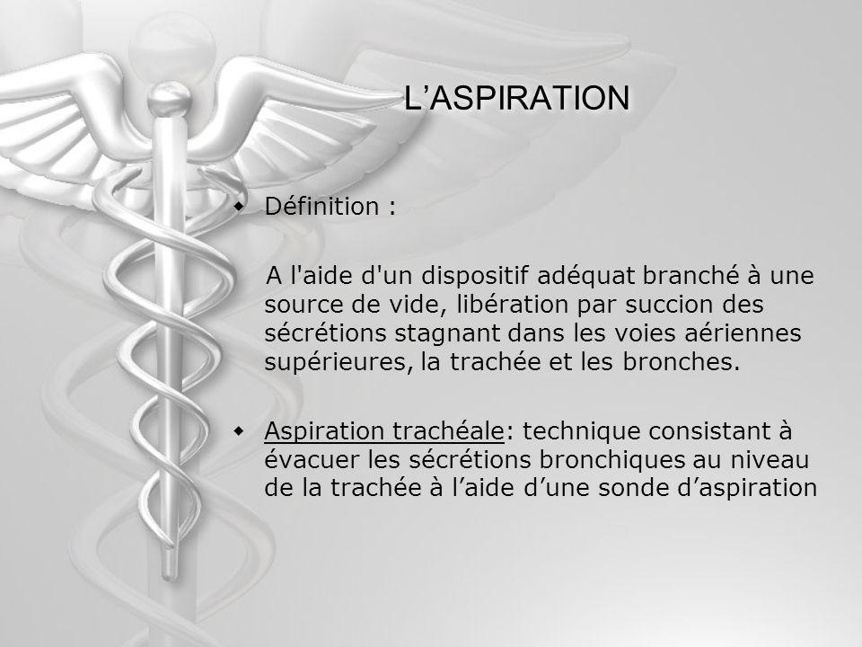 LASPIRATION Définition : A l'aide d'un dispositif adéquat branché à une source de vide, libération par succion des sécrétions stagnant dans les voies