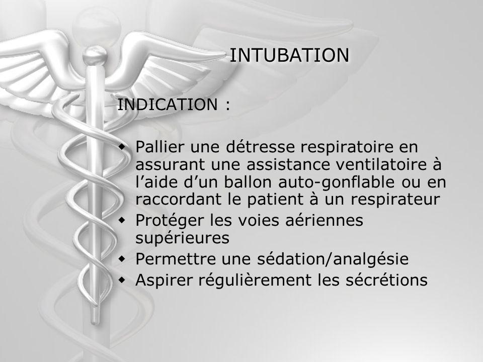 INTUBATION INDICATION : Pallier une détresse respiratoire en assurant une assistance ventilatoire à laide dun ballon auto-gonflable ou en raccordant l