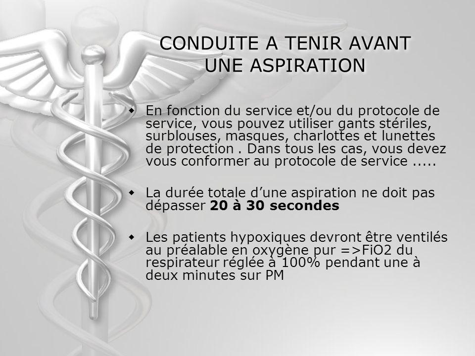 CONDUITE A TENIR AVANT UNE ASPIRATION En fonction du service et/ou du protocole de service, vous pouvez utiliser gants stériles, surblouses, masques,