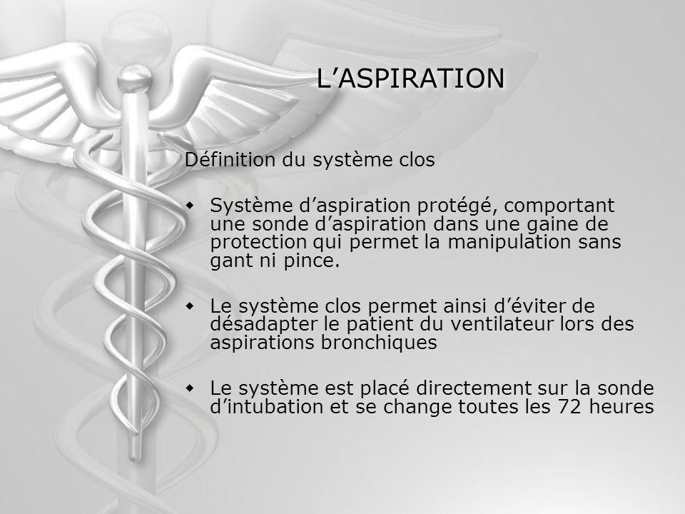 LASPIRATION Définition du système clos Système daspiration protégé, comportant une sonde daspiration dans une gaine de protection qui permet la manipu