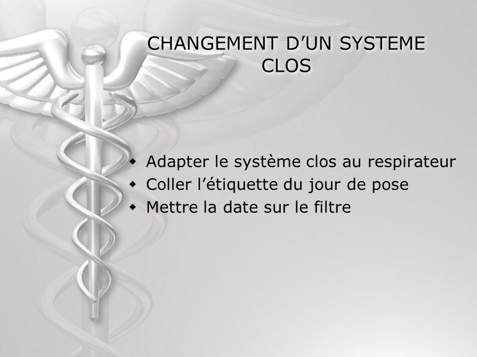 CHANGEMENT DUN SYSTEME CLOS Adapter le système clos au respirateur Coller létiquette du jour de pose Mettre la date sur le filtre