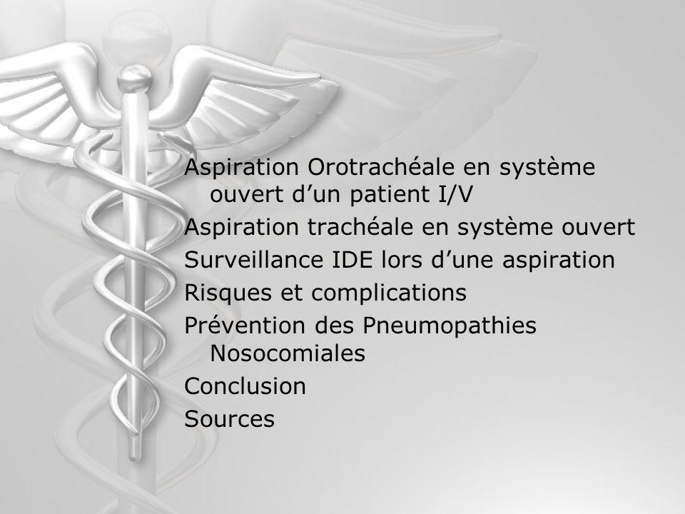 Aspiration Orotrachéale en système ouvert dun patient I/V Aspiration trachéale en système ouvert Surveillance IDE lors dune aspiration Risques et comp