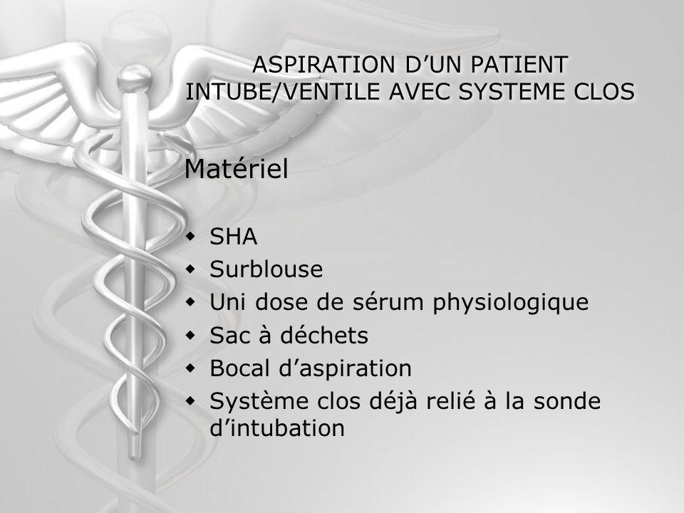 ASPIRATION DUN PATIENT INTUBE/VENTILE AVEC SYSTEME CLOS Matériel SHA Surblouse Uni dose de sérum physiologique Sac à déchets Bocal daspiration Système