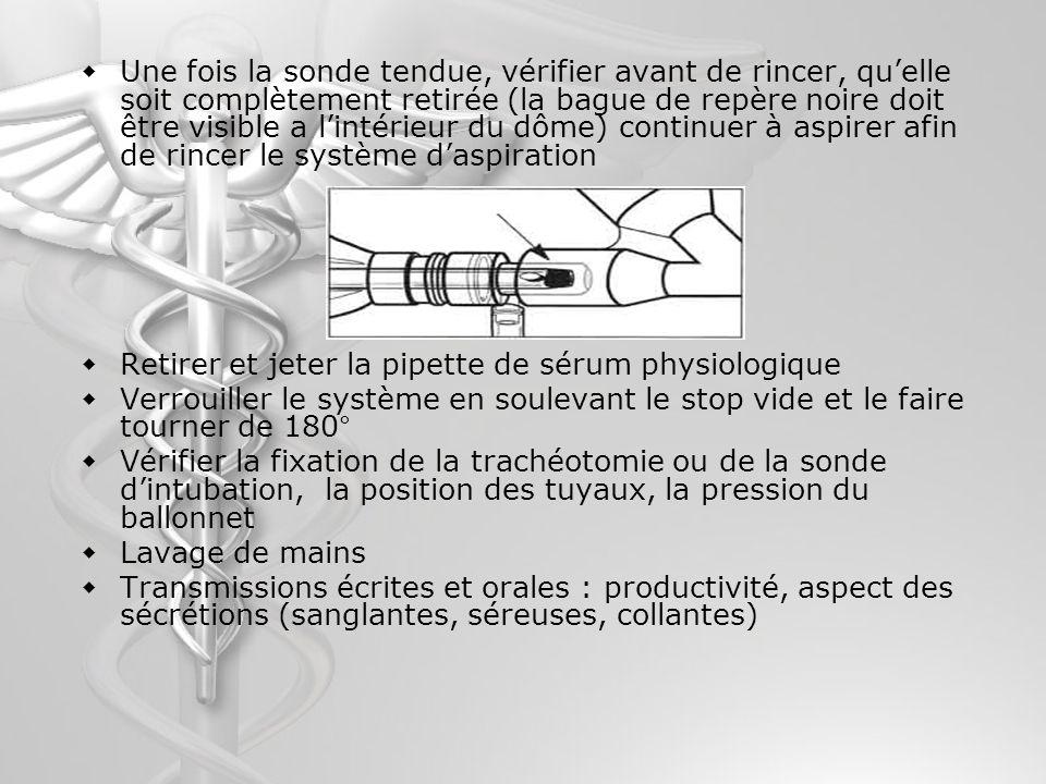 Une fois la sonde tendue, vérifier avant de rincer, quelle soit complètement retirée (la bague de repère noire doit être visible a lintérieur du dôme)