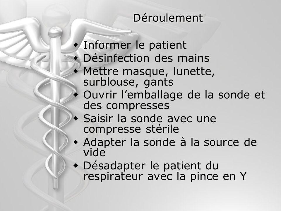 Déroulement Informer le patient Désinfection des mains Mettre masque, lunette, surblouse, gants Ouvrir lemballage de la sonde et des compresses Saisir