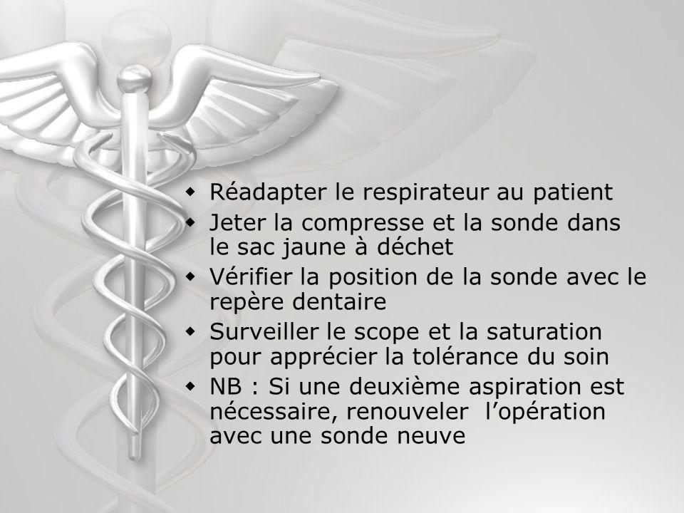 Réadapter le respirateur au patient Jeter la compresse et la sonde dans le sac jaune à déchet Vérifier la position de la sonde avec le repère dentaire