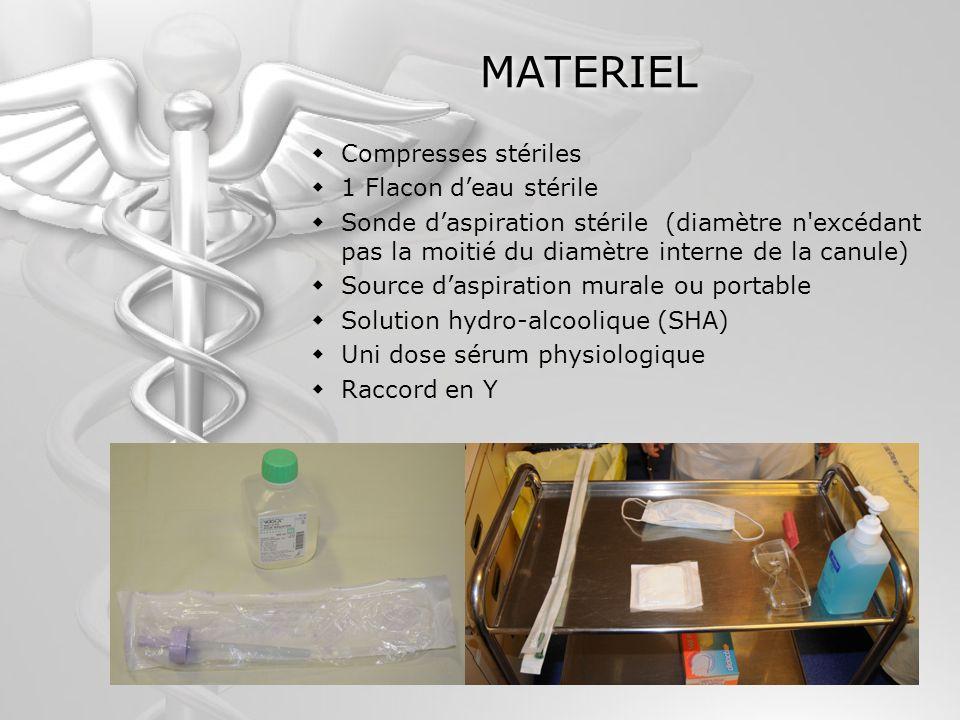 MATERIEL Compresses stériles 1 Flacon deau stérile Sonde daspiration stérile (diamètre n'excédant pas la moitié du diamètre interne de la canule) Sour