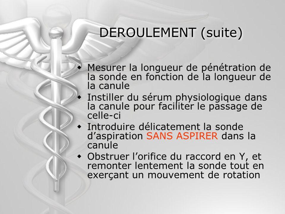 DEROULEMENT (suite) Mesurer la longueur de pénétration de la sonde en fonction de la longueur de la canule Instiller du sérum physiologique dans la ca