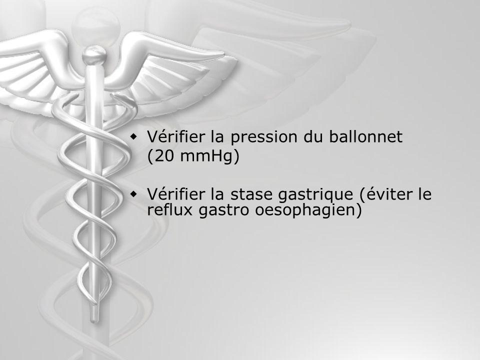 Vérifier la pression du ballonnet (20 mmHg) Vérifier la stase gastrique (éviter le reflux gastro oesophagien)