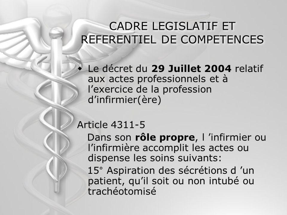 CADRE LEGISLATIF ET REFERENTIEL DE COMPETENCES Le décret du 29 Juillet 2004 relatif aux actes professionnels et à lexercice de la profession dinfirmie