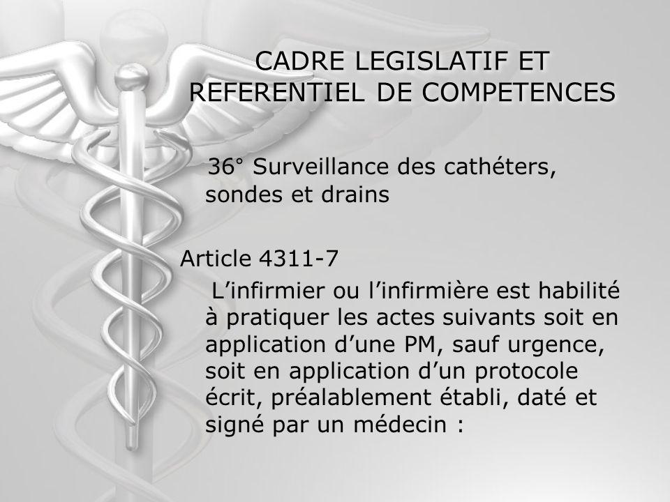CADRE LEGISLATIF ET REFERENTIEL DE COMPETENCES 36° Surveillance des cathéters, sondes et drains Article 4311-7 Linfirmier ou linfirmière est habilité