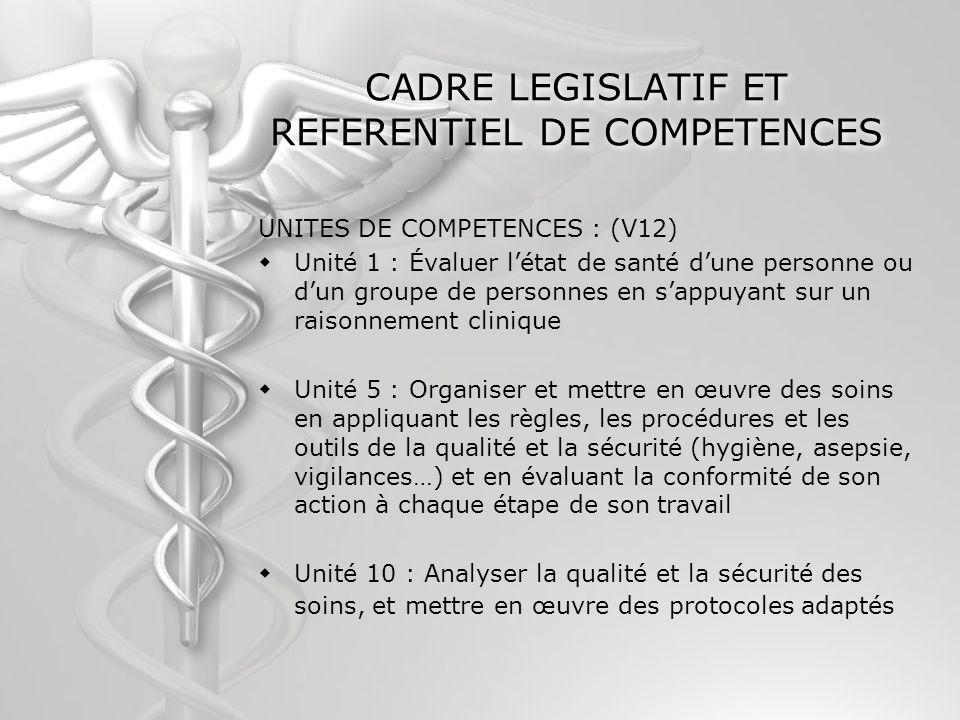 CADRE LEGISLATIF ET REFERENTIEL DE COMPETENCES UNITES DE COMPETENCES : (V12) Unité 1 : Évaluer létat de santé dune personne ou dun groupe de personnes