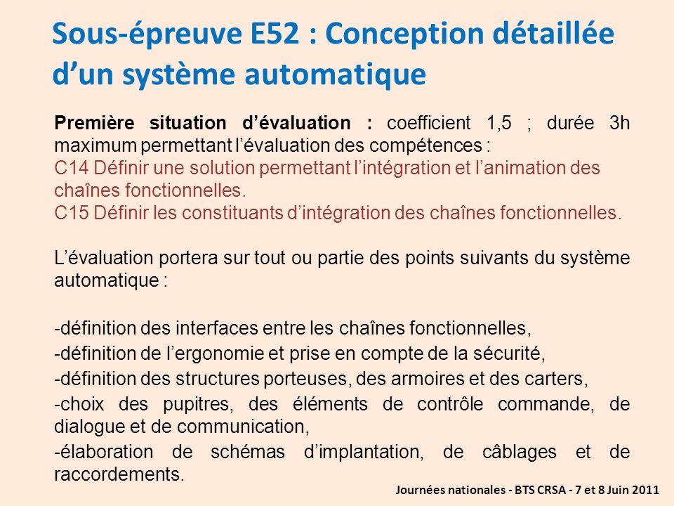 Journées nationales - BTS CRSA - 7 et 8 Juin 2011 Sous-épreuve E52 : Conception détaillée dun système automatique Première situation dévaluation : coe