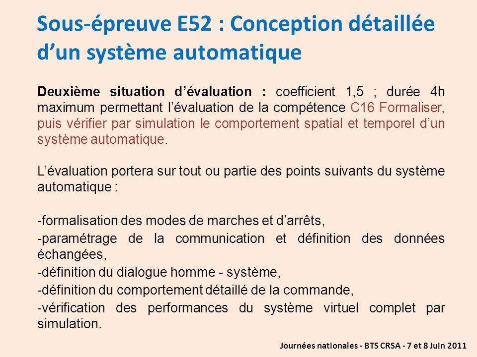 Journées nationales - BTS CRSA - 7 et 8 Juin 2011 Sous-épreuve E52 : Conception détaillée dun système automatique Deuxième situation dévaluation : coe