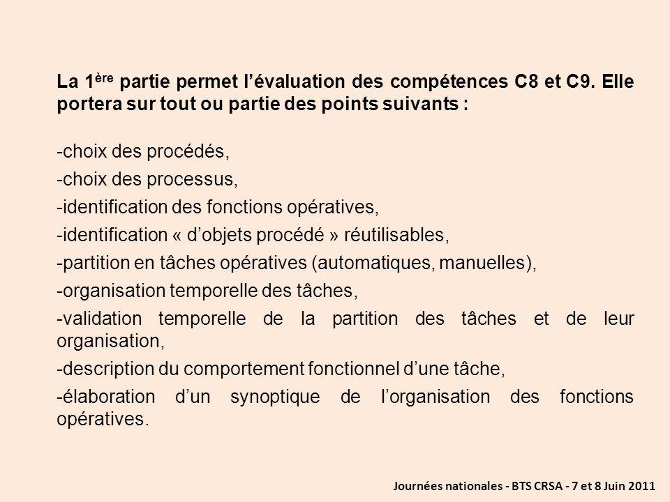 Journées nationales - BTS CRSA - 7 et 8 Juin 2011 La 1 ère partie permet lévaluation des compétences C8 et C9. Elle portera sur tout ou partie des poi