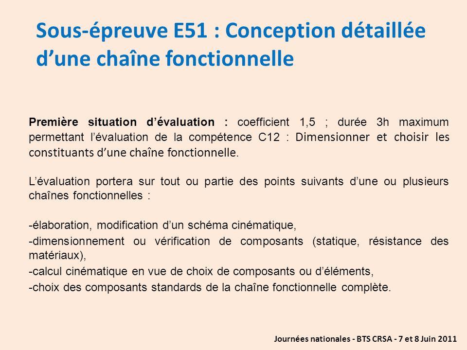 Journées nationales - BTS CRSA - 7 et 8 Juin 2011 Sous-épreuve E51 : Conception détaillée dune chaîne fonctionnelle Première situation dévaluation : c