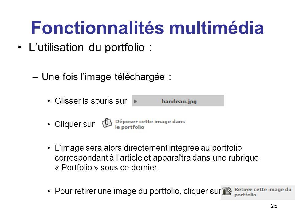 26 Fonctionnalités multimédia Il est également possible de télécharger et gérer ces documents sur cette interface, une fois larticle enregistré :