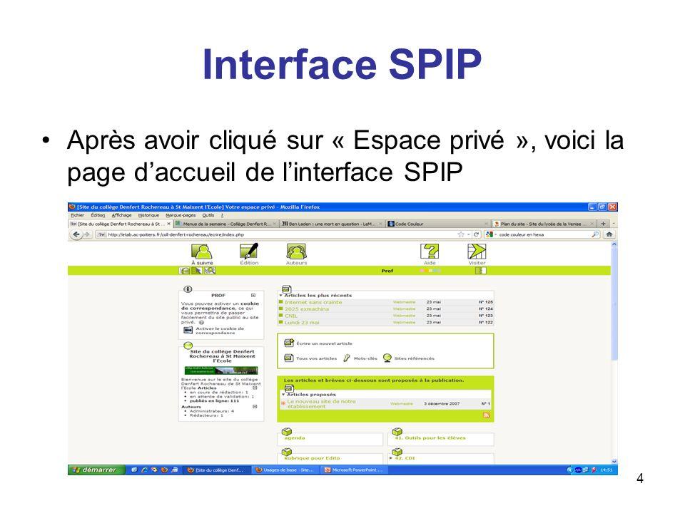 5 Menu SPIP 5 boutons principaux : –Correspond à la page daccueil de linterface –Renvoie une page avec toute larborescence du site –Permet de modifier ses informations en cliquant sur son propre login –Renvoie sur laide en ligne de SPIP –Permet de se rendre sur le site