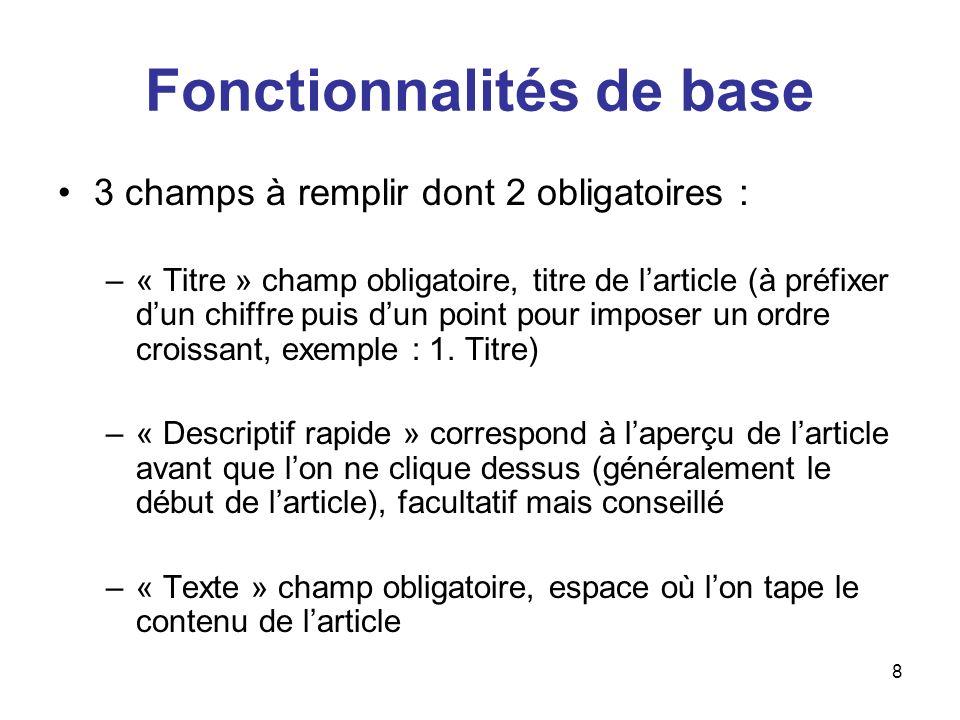 9 Fonctionnalités de base –« A lintérieur de la rubrique » uniquement utile si lon souhaite déplacer son article.