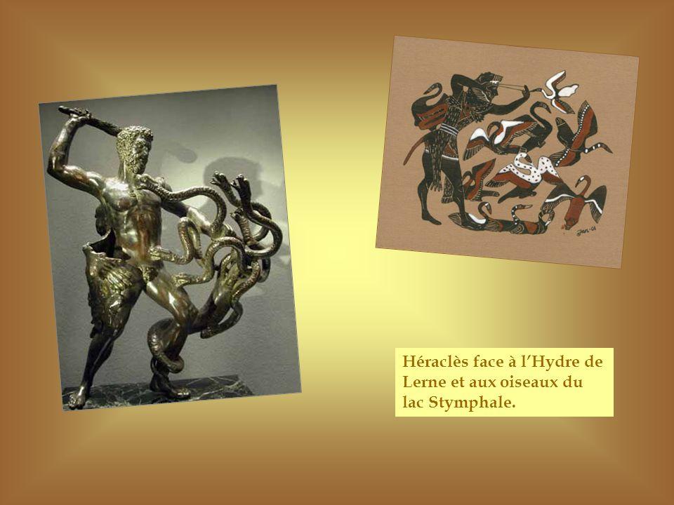 Héraclès face à lHydre de Lerne et aux oiseaux du lac Stymphale.