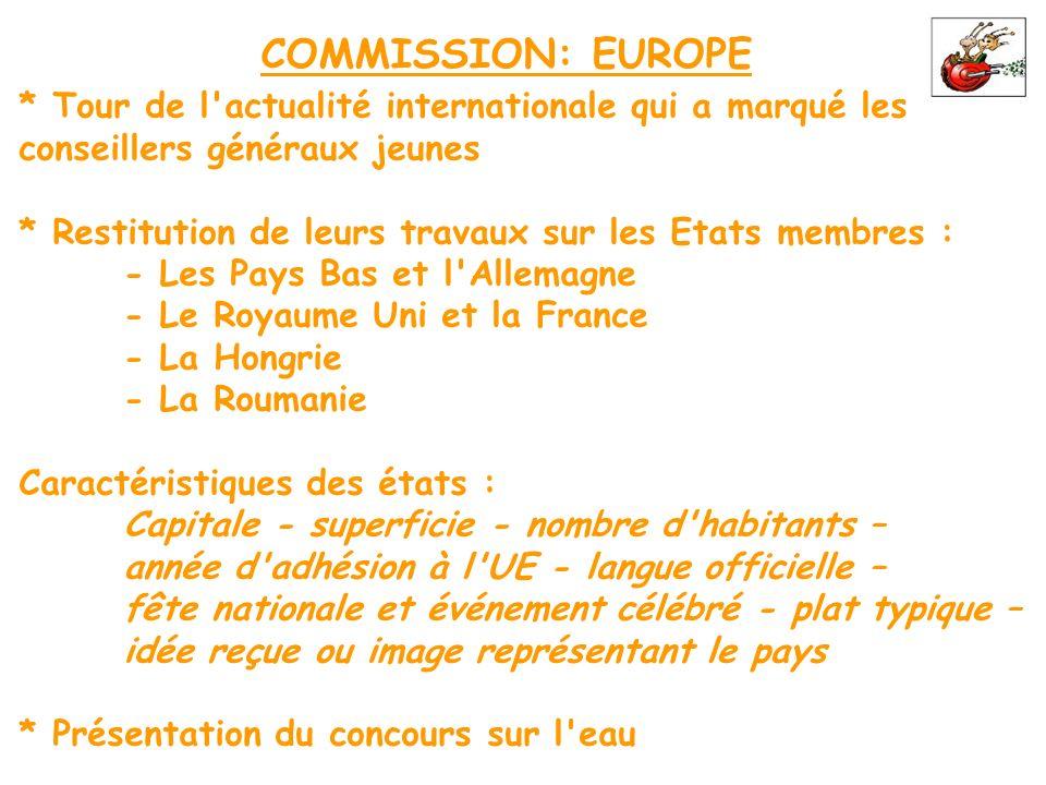 COMMISSION: EUROPE * Tour de l'actualité internationale qui a marqué les conseillers généraux jeunes * Restitution de leurs travaux sur les Etats memb