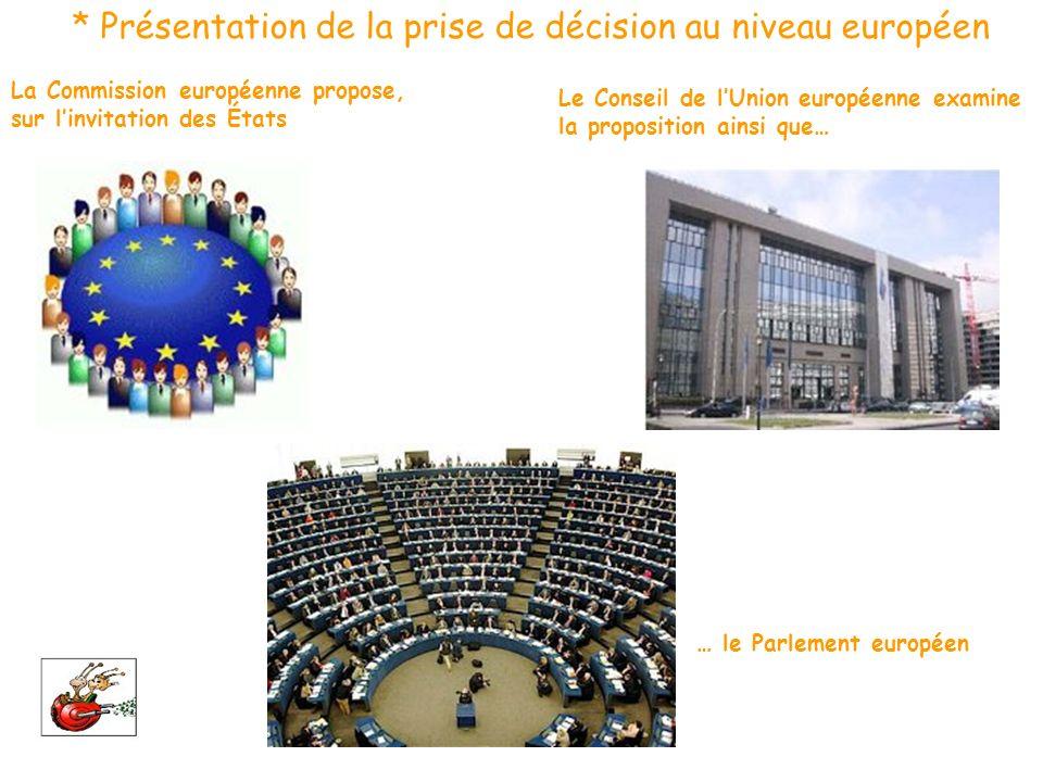 * Présentation de la prise de décision au niveau européen La Commission européenne propose, sur linvitation des États Le Conseil de lUnion européenne