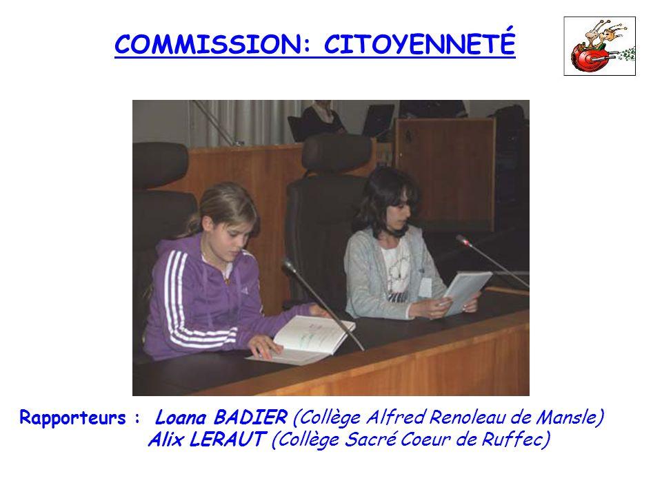 COMMISSION: CITOYENNETÉ Rapporteurs : Loana BADIER (Collège Alfred Renoleau de Mansle) Alix LERAUT (Collège Sacré Coeur de Ruffec)