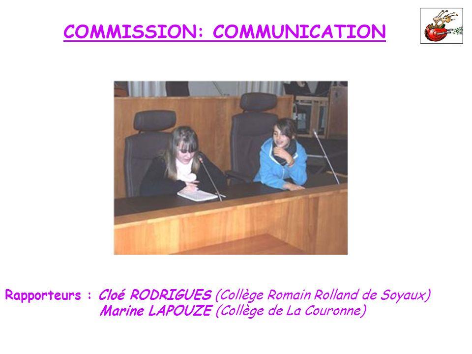 COMMISSION: COMMUNICATION Rapporteurs : Cloé RODRIGUES (Collège Romain Rolland de Soyaux) Marine LAPOUZE (Collège de La Couronne)