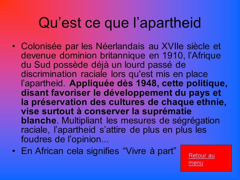 Quest ce que lapartheid Colonisée par les Néerlandais au XVIIe siècle et devenue dominion britannique en 1910, lAfrique du Sud possède déjà un lourd passé de discrimination raciale lors qu est mis en place lapartheid.