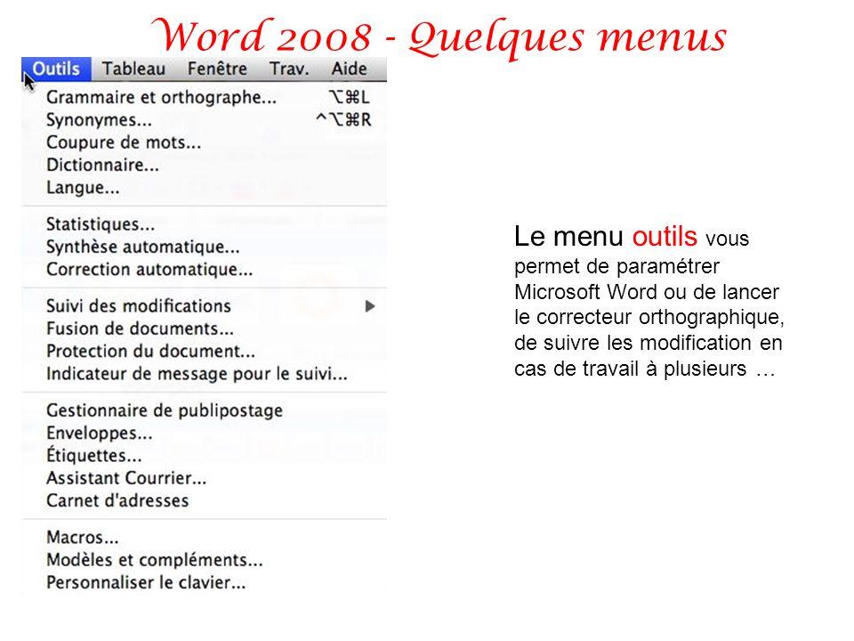 Word 2008 - Quelques menus Le menu outils vous permet de paramétrer Microsoft Word ou de lancer le correcteur orthographique, de suivre les modificati