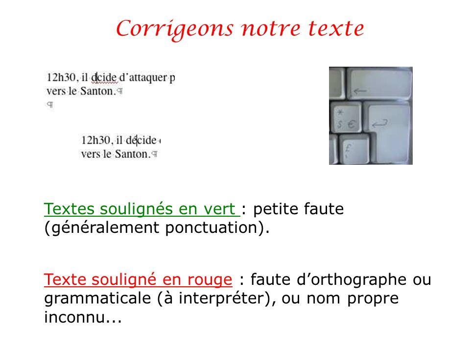 Corrigeons notre texte Texte souligné en rouge : faute dorthographe ou grammaticale (à interpréter), ou nom propre inconnu... Textes soulignés en vert