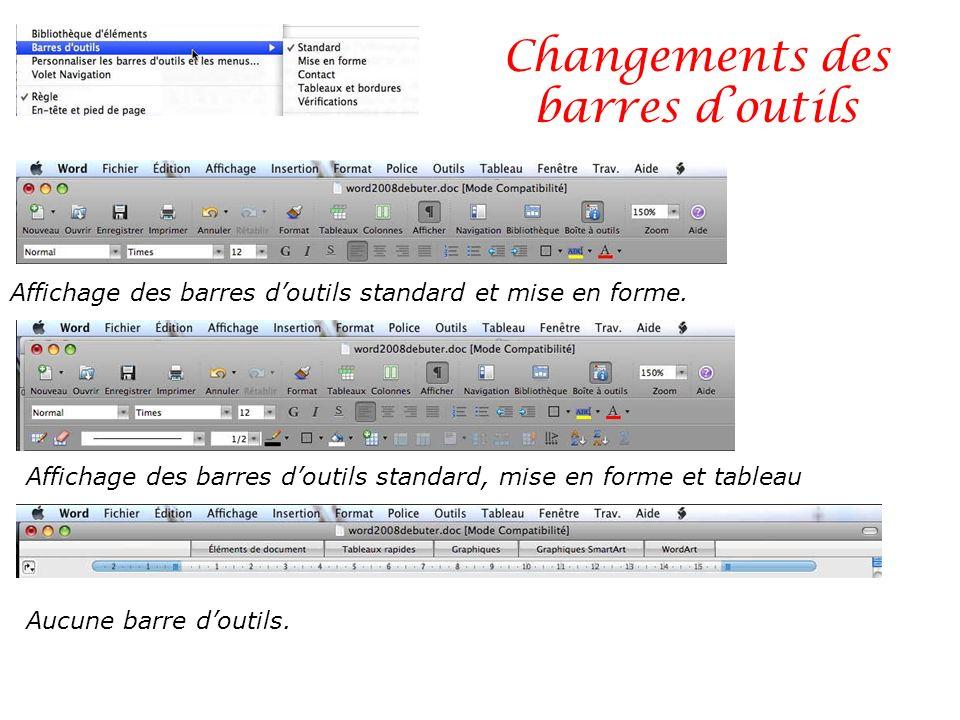 Changements des barres doutils Affichage des barres doutils standard et mise en forme. Affichage des barres doutils standard, mise en forme et tableau