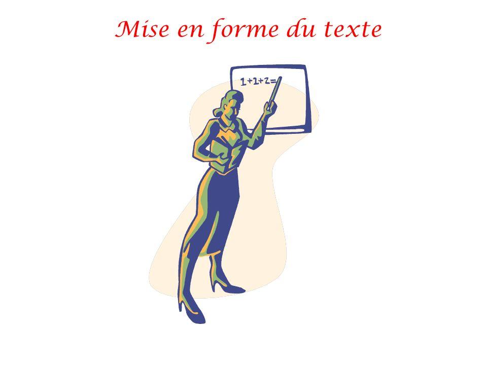 Mise en forme du texte