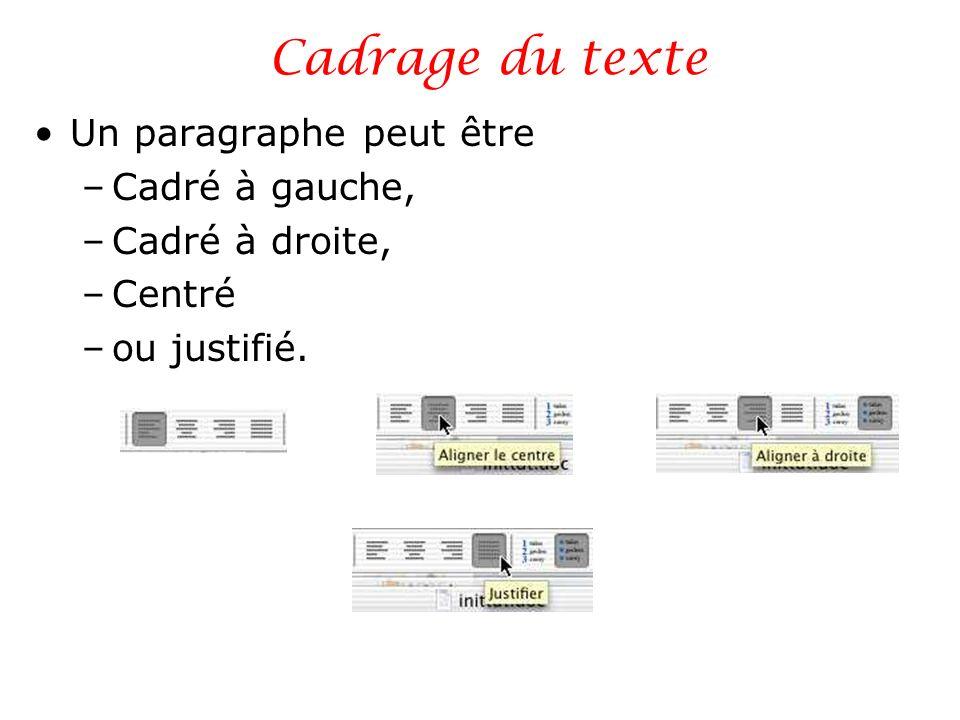 Cadrage du texte Un paragraphe peut être –Cadré à gauche, –Cadré à droite, –Centré –ou justifié.