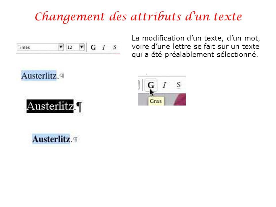 Changement des attributs dun texte La modification dun texte, dun mot, voire dune lettre se fait sur un texte qui a été préalablement sélectionné.