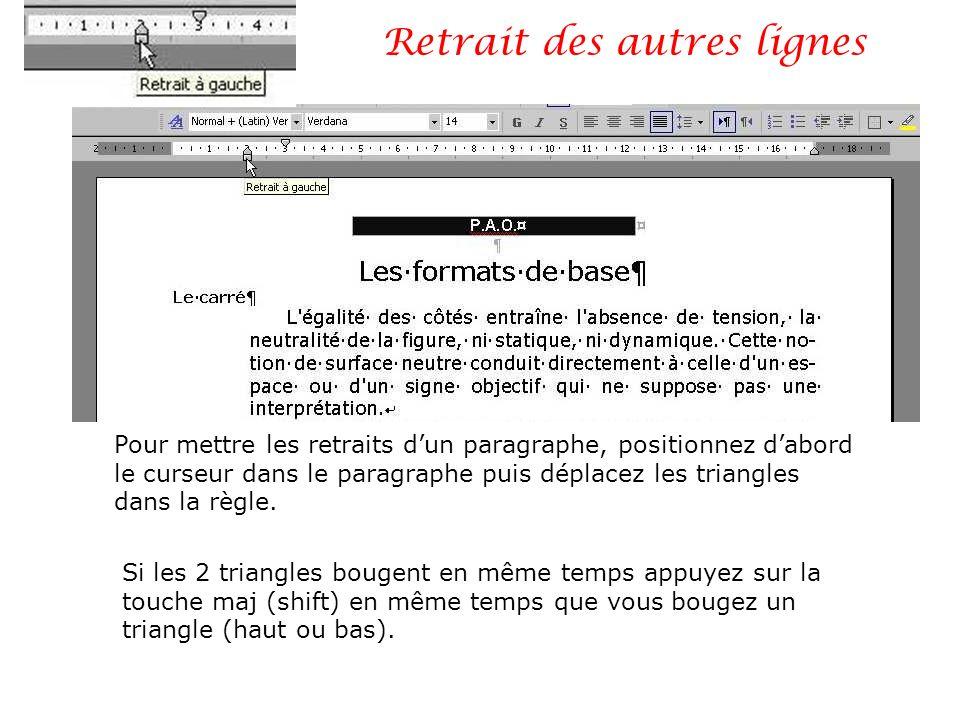 Retrait des autres lignes Pour mettre les retraits dun paragraphe, positionnez dabord le curseur dans le paragraphe puis déplacez les triangles dans l