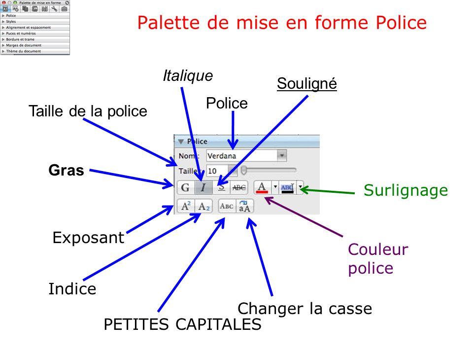 Palette de mise en forme Police Couleur police Surlignage Police Taille de la police Gras Italique Souligné Exposant Indice PETITES CAPITALES Changer
