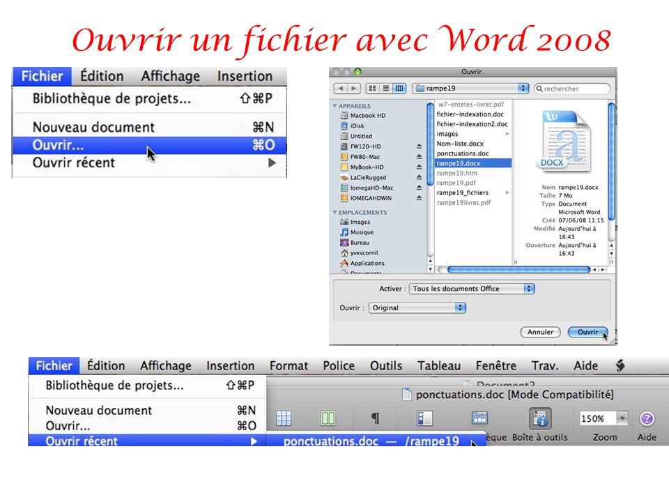 Ouvrir un fichier avec Word 2008