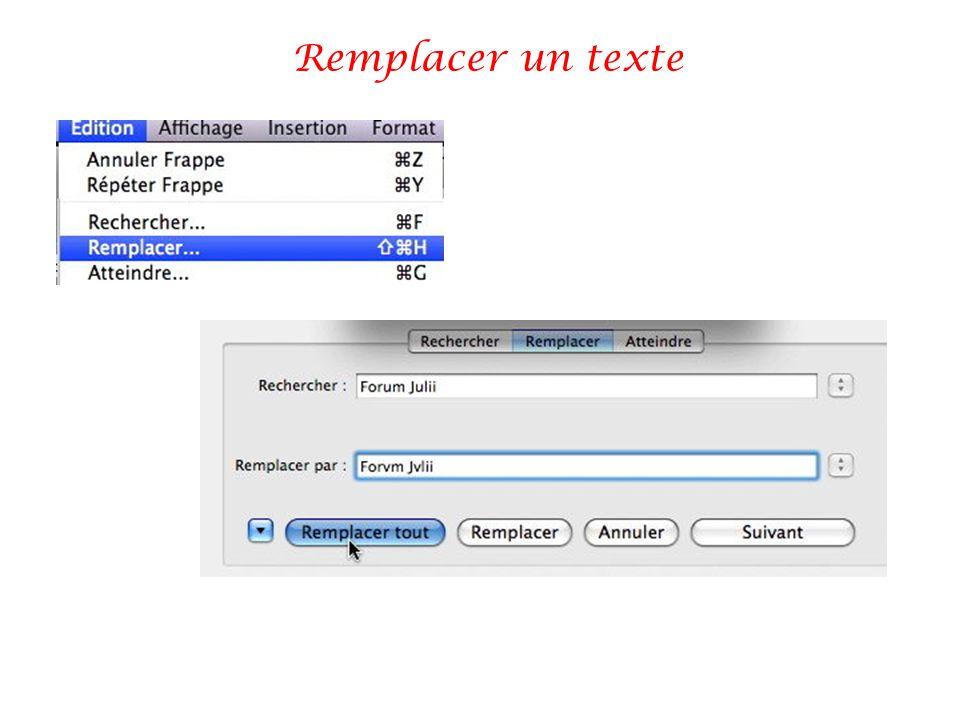 Remplacer un texte