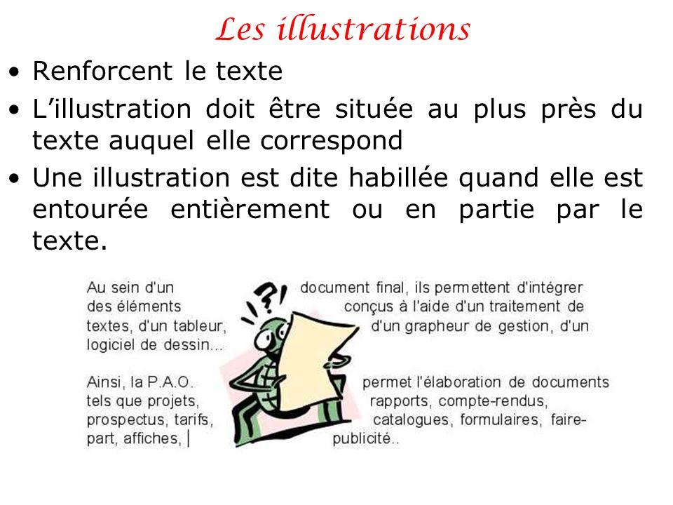 Les illustrations Renforcent le texte Lillustration doit être située au plus près du texte auquel elle correspond Une illustration est dite habillée q