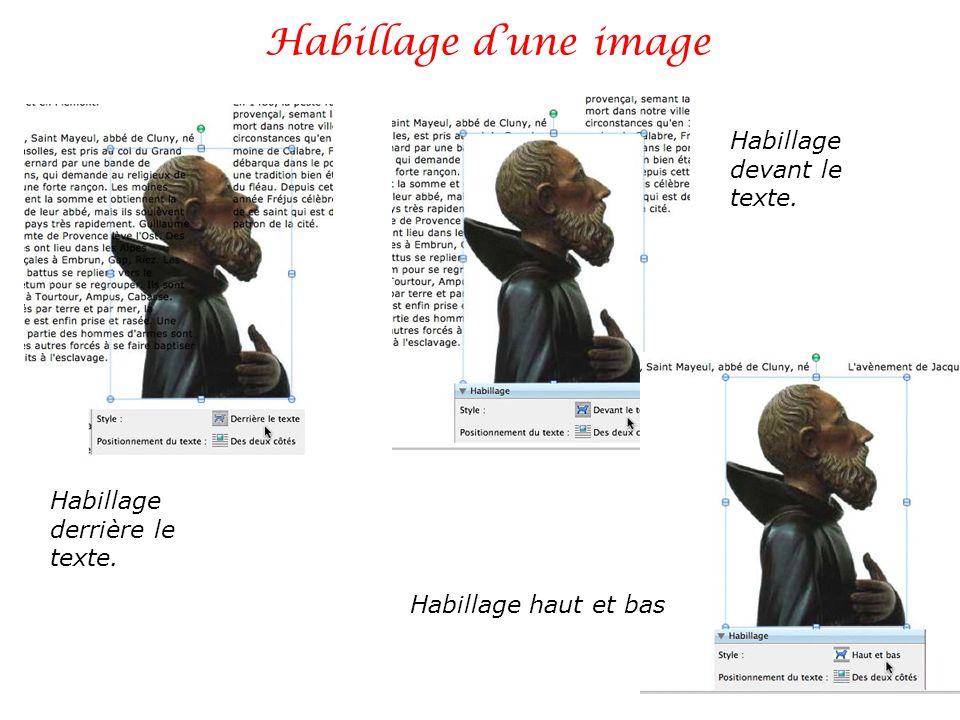 Habillage dune image Habillage derrière le texte. Habillage devant le texte. Habillage haut et bas