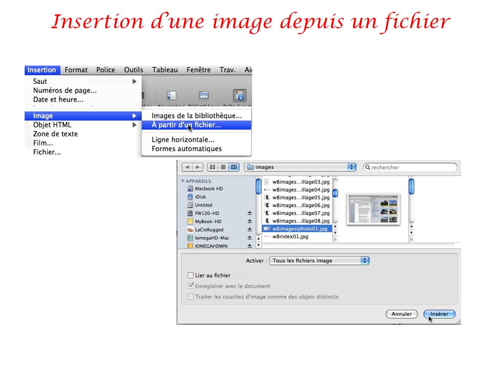 Insertion dune image depuis un fichier